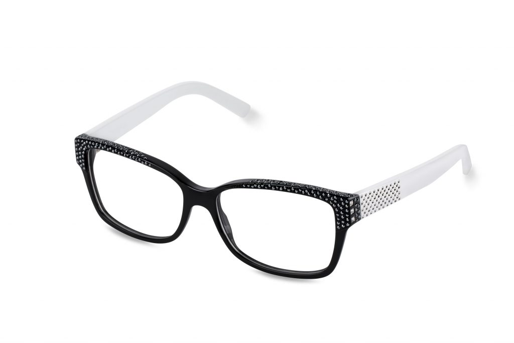 AGATA c.BW – Black front and white temples with clear and black crystals
