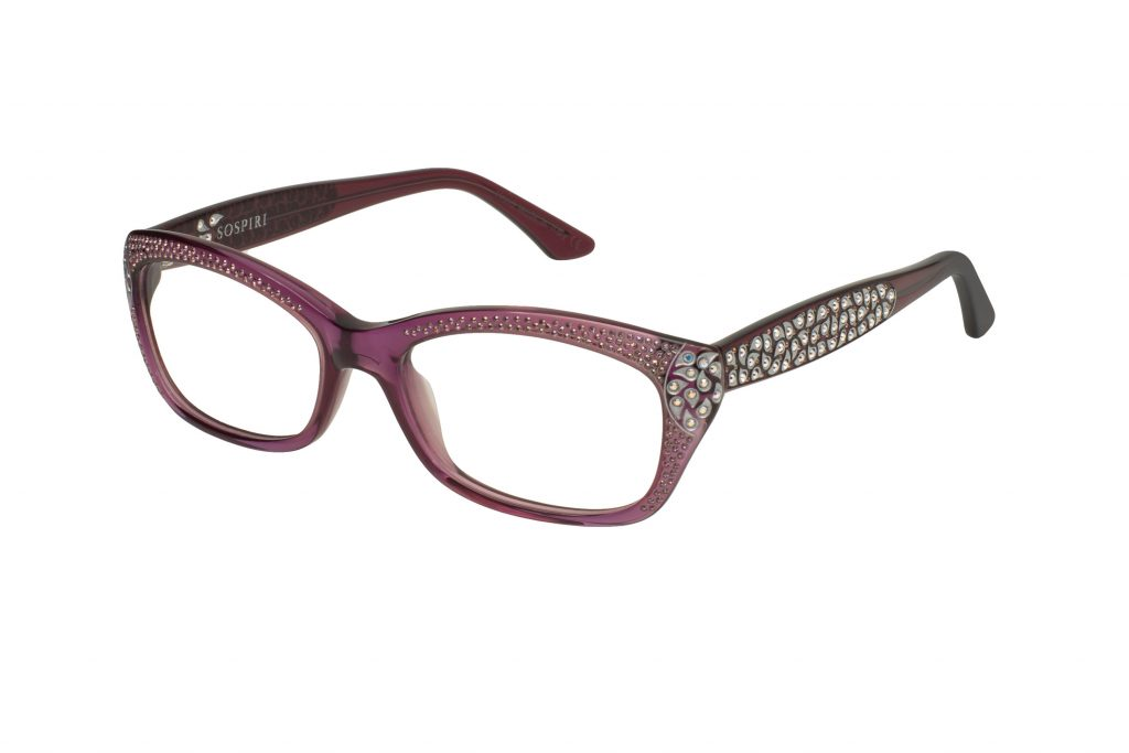 NUNZIA c.563 – Translucent purple with alabaster and lilac crystals and silver laserwork