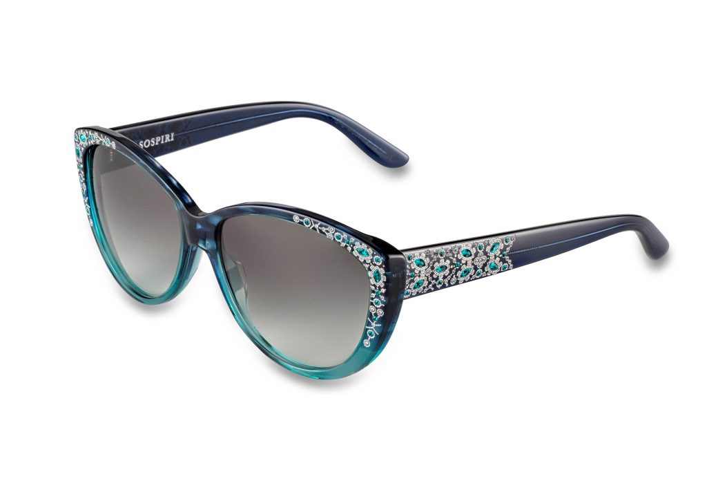 LETIZIA c.B08 – Gradient teal with clear and blue zircone crystals