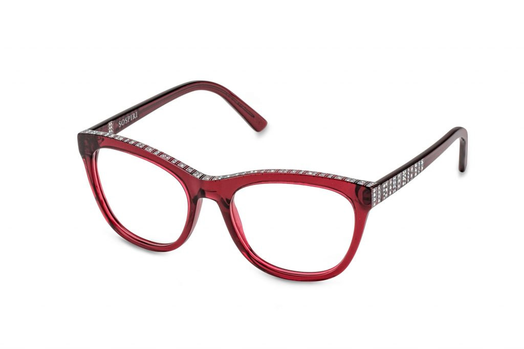 EVITA c.252 – Translucent burgundy with clear and alabaster crystals