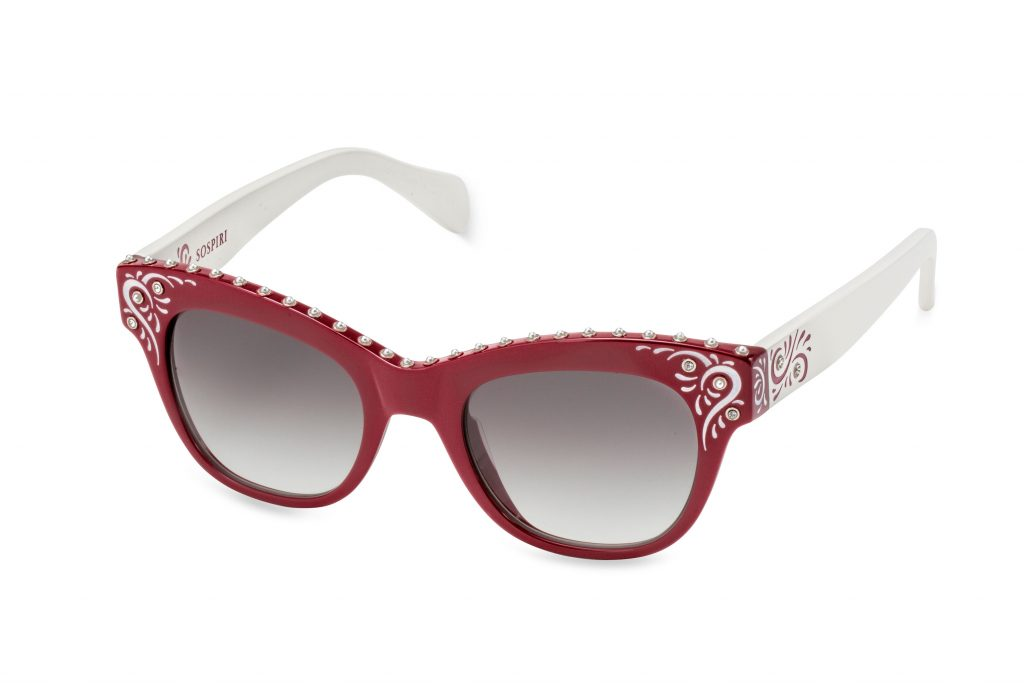 ODILIA c.RW/A – Cherry red front and white temples with pearls and whimsical artwork