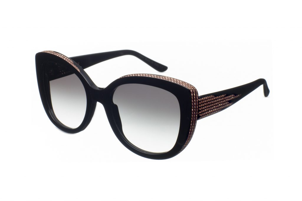 VEGA c.NRV – Black with rose gold crystals and bronze laserwork