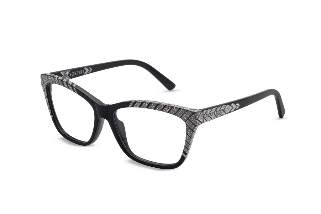 Cora c.NR – Black with clear and light chrome crystals