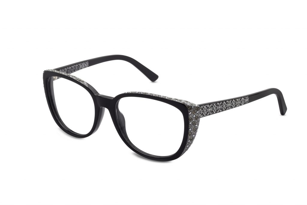 Lunetta c.NR – Black with clear and light chrome crystals and silver laserwork