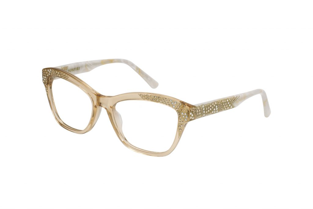 GIORGIA c.986 – Translucent light amber front with gold crystals, gold laserwork and horn temples