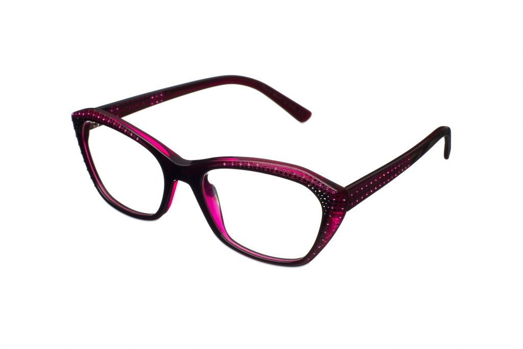 MARGA c.823 – Two-tone fuchsia with fuchsia and black crystals and ruby laserwork