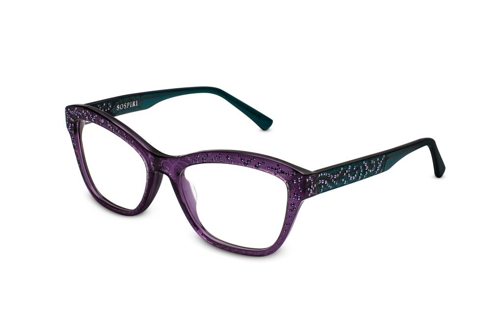 Fede c.743 – Translucent purple front and emerald temples with matte baroque laserwork overlaid with tanzanite crystals