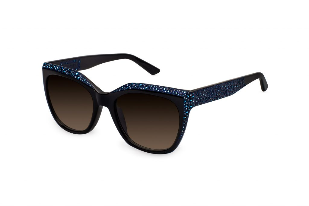 Thea c.NRB – Black with metallic blue crystals and blue laserwork