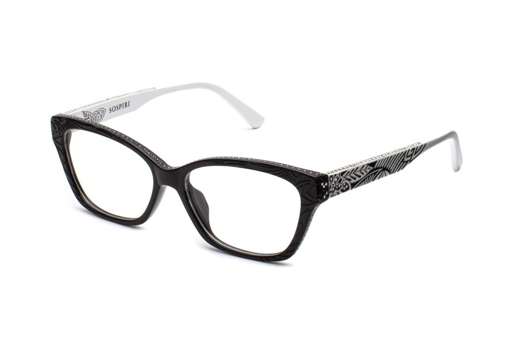 FILOMENA c.BW – Black front and white temples with clear and black crystals and matte floral laserwork
