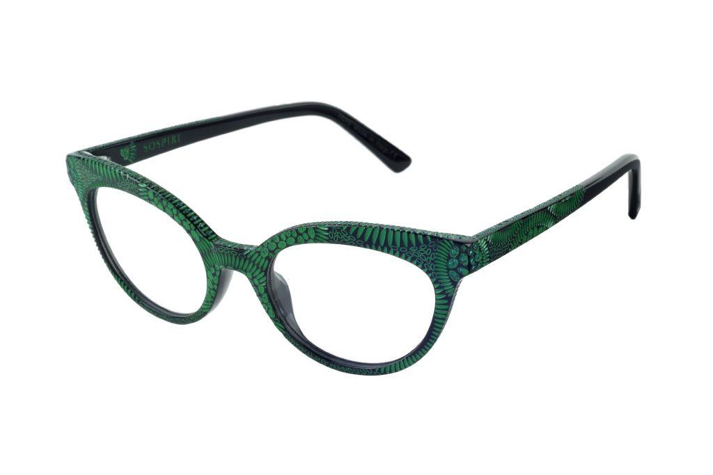 Clara c. NRE – Black with emerald green crystals and green laserwork