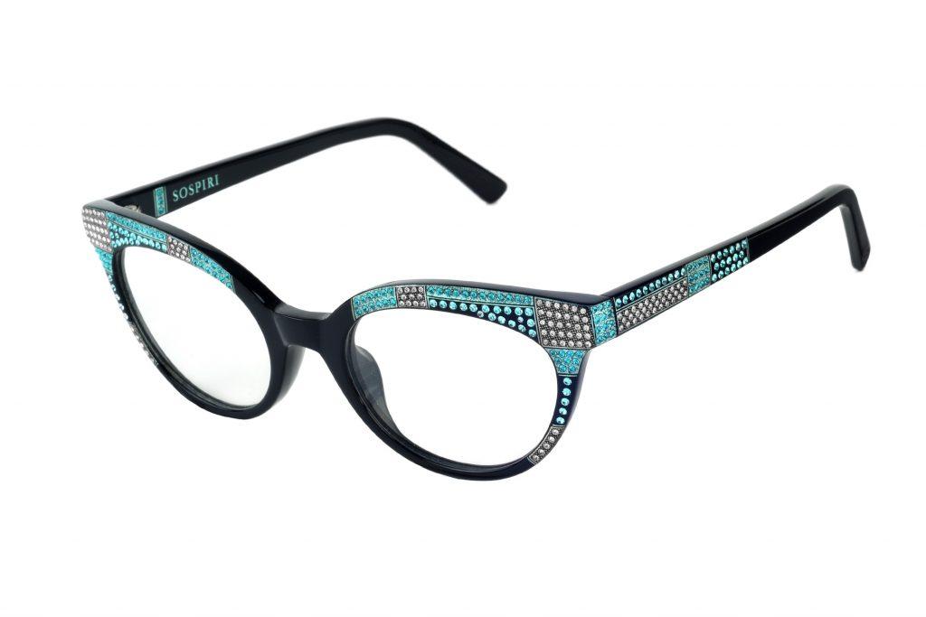 Flavia c. NRA – Black with aquamarine and blue crystals and aquamarine laserwork