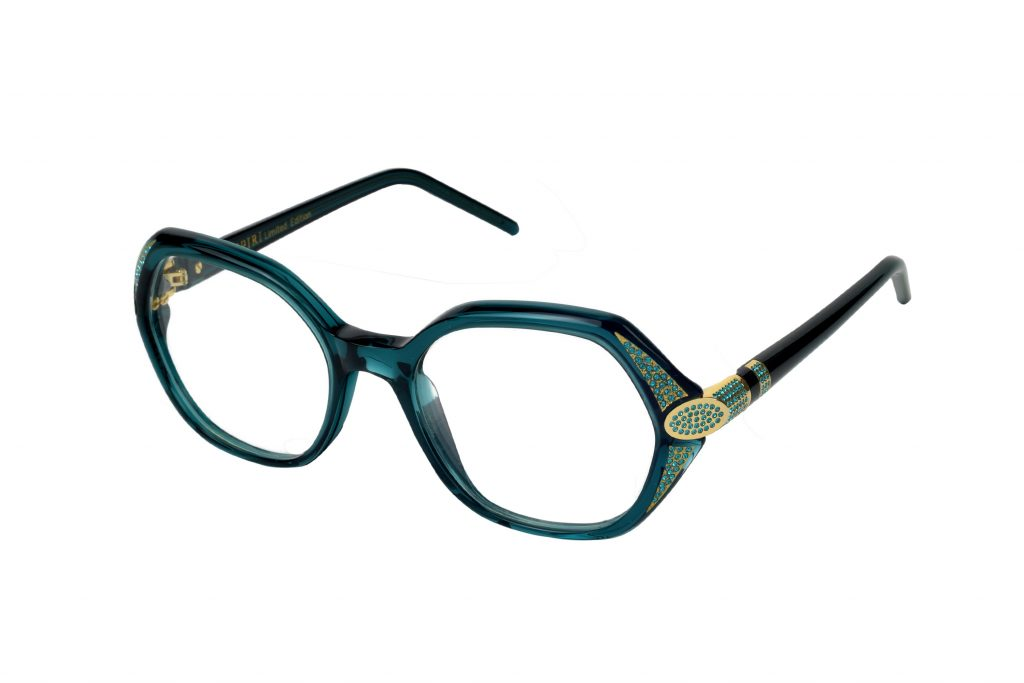 Cristina LE c. 843 – LIMITED EDITION – Emerlad green with gold jewel component and indigo-blue crystals